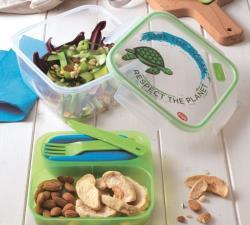 Snips Lunch Box Refrigerato Tartaruga Quadrato 1,4 LT Trasparente-Verde